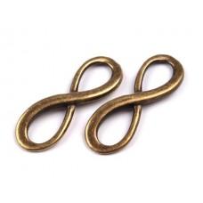 Metall Zwischenstück - Symbol der Unendlichkeit - altmessing