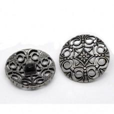 Metall Öseknöpfe Größe 24 mm - antik silber