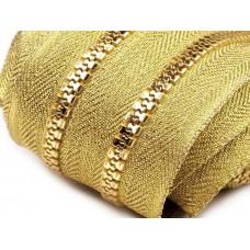 Kunststoff Reißverschluss 5 mm endlos - gold