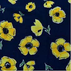 Bedruckter Baumwolle Kleiderstoff seidig - dunkelblau mit gelb