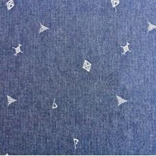Elastischer Jeansstoff mit Stickerei (10,20 €/lfm)